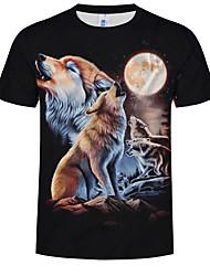 cheap -Men's Plus Size Cotton T-shirt - Animal Print Round Neck Black