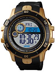Недорогие -SKMEI Муж. Армейские часы Цифровой силиконовый Черный 50 m Армия Защита от влаги Будильник Цифровой На открытом воздухе Мода - Черный Золотистый Один год Срок службы батареи