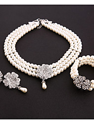 cheap -Women's Clear Pearl Wrap Bracelet Pearl Necklace Chandelier Fashion Earrings Jewelry White For Holiday Festival 1 set
