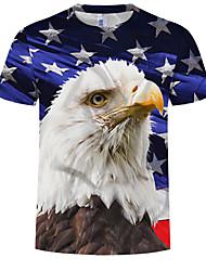 cheap -Men's Plus Size Cotton T-shirt - Animal Print Round Neck Rainbow
