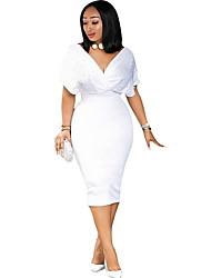 Недорогие -Жен. Тонкие Оболочка Платье - Однотонный, Бусины Глубокий V-образный вырез До колена