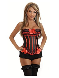 cheap -Women's Cotton Lace Up Overbust Corset - Lines / Waves / Embroidered, Peplum / Bow Black Wine Purple S M L