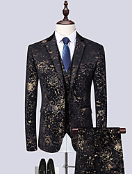 cheap -Tuxedos Notch Single Breasted Two-buttons Cotton Blend / Cotton / Polyester Floral / Botanical
