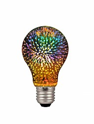 cheap -1pc A19/A60 4W LED 3D Colorful Star Fireworks Light Bulb(2200K) E26/E27 Filament Bulbs Base Edison Bulb Light for Holiday Home Bar Decoration Multicolor LED Lamp