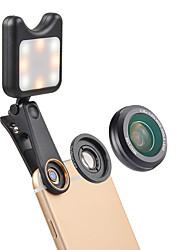 Недорогие -Объектив для мобильного телефона Широкоугольный объектив / Макролинза стекло / Алюминиевый сплав Макрос 15X 32 mm 15 m 110 ° Линза / объектив с LED подсветкой / Творчество / Милый