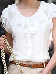 Недорогие -Жен. Однотонный Блуза Белый / Черный / Бежевый