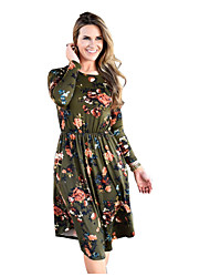 cheap -Women's Knee-length Maternity Wine Green Dress Basic Sheath Floral S M