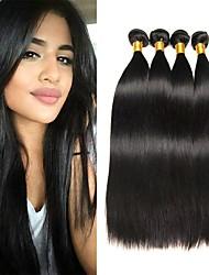 cheap -4 Bundles Brazilian Hair Straight Virgin Human Hair Natural Color Hair Weaves / Hair Bulk Extension Bundle Hair 8-28inch Natural Color Human Hair Weaves Cosplay Soft Dancing Human Hair Extensions