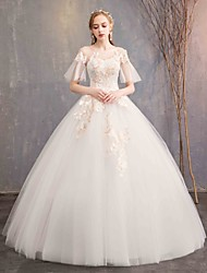 cheap -Ball Gown Bateau Neck Maxi Lace / Tulle Short Sleeve Made-To-Measure Wedding Dresses with 2020 / Illusion Sleeve