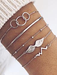 cheap -5pcs Women's Vintage Bracelet Bracelet Earrings / Bracelet Layered Vertical / Gold bar Heart Rate Angel Wings Simple Classic Vintage Ethnic Fashion Alloy Bracelet Jewelry Silver For Daily School