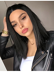 cheap -Synthetic Lace Front Wig Straight Kardashian Style Bob Lace Front Wig Black Dark Brown Natural Black Synthetic Hair 10-12 inch Women's Natural Hairline Black Wig Short / Yes