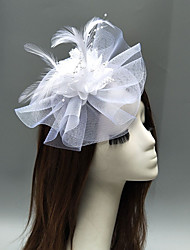 cheap -Net Fascinators / Headdress / Headpiece with Feather / Flower / Trim 1 Piece Wedding / Special Occasion Headpiece / Hair Clip