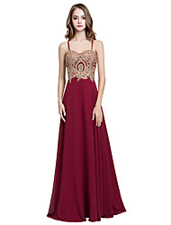 cheap -A-Line Spaghetti Strap Sweep / Brush Train Chiffon Minimalist Formal Evening Dress with Appliques / Crystals 2020