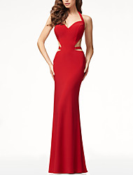 cheap -Women's Maxi Red Dress Elegant Sophisticated Cocktail Party Prom Sheath Solid Colored Halter Neck S M