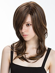 cheap -Synthetic Wig Natural Straight Side Part Wig Medium Length Brown Synthetic Hair 16 inch Women's Synthetic Natural Hairline Side Part Brown BLONDE UNICORN