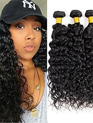 cheap -3 Bundles Brazilian Hair Water Wave Remy Human Hair Natural Color Hair Weaves / Hair Bulk Bundle Hair Human Hair Extensions 8-28 inch Natural Color Human Hair Weaves Fashionable Design Gift Creative