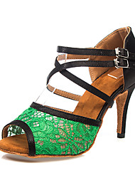 cheap -Women's Dance Shoes Satin Latin Shoes Buckle / Lace Heel Slim High Heel Customizable Green / Leather