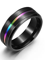cheap -Men's Ring Groove Rings 1pc Black Titanium Steel European Daily Jewelry