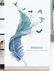cheap -Fresh feather wall stickers wall decoration room bedroom porch warm wallpaper dormitory stickers self-adhesive wallpaper stickers