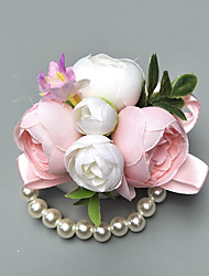 "cheap -Wedding Flowers Wrist Corsages Event / Party / Wedding Party Poly / Cotton Blend / Beads 1.57""(Approx.4cm)"