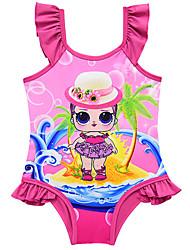 cheap -Swimsuit Swimwear Cosplay Costumes Bathing Suit Beach Girl Kid's Cosplay Costumes Cosplay Halloween Purple / Fuchsia / Blue Cartoon Printing Christmas Halloween Carnival / Leotard / Onesie