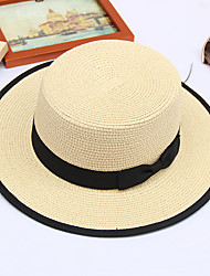 cheap -Men's Unisex Basic Straw Lace Bucket Hat Straw Hat Sun Hat-Solid Colored All Seasons Beige Light Brown Khaki