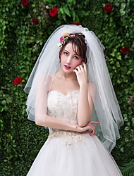 cheap -Two-tier Classic & Timeless Wedding Veil Elbow Veils with Solid Tulle / Angel cut / Waterfall