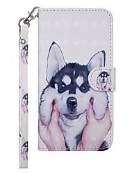 Недорогие -Кейс для Назначение Nokia Nokia 7.1 / Nokia 6 2018 / Nokia 5 Кошелек / Бумажник для карт / со стендом Чехол С собакой Твердый Кожа PU