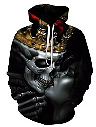 cheap -Men's Party / Casual Hoodie - 3D / Skull Black XL