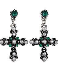 cheap -Women's Cubic Zirconia Drop Earrings Hanging Cross Earrings Retro Cross Classic Vintage European Elegant Imitation Pearl Earrings Jewelry White / Red / Green For Daily Street Holiday Work 1 Pair