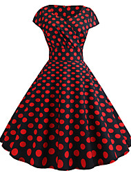 cheap -Women's Red Dress Basic A Line Color Block V Neck S M