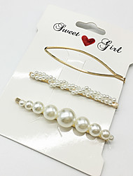 cheap -Alloy Hair Clip with Faux Pearl / Metal 3 Pieces Wedding / Special Occasion Headpiece