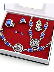 cheap -Cosplay Accessories Inspired by Black Butler Ciel Phantomhive Anime Cosplay Accessories Rings 1 Necklace Brooch Artificial Gemstones Alloy Halloween Costumes / Bracelet / Bangle / Earring / Earring