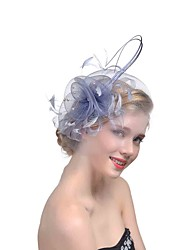 cheap -Hat / Fascinator Hat Adults' Vintage / Halloween All Pink / White / Beige Tulle / Feather Masquerade Wedding Party Cosplay Accessories Christmas / Halloween / Carnival Costumes