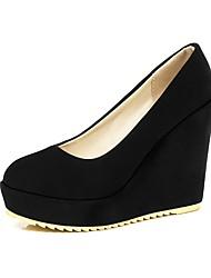 cheap -Women's PU(Polyurethane) Spring &  Fall Heels Wedge Heel Black / Beige