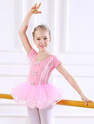 cheap -Kids' Dancewear / Ballet Dresses Girls' Training / Performance Cotton Bow(s) / Lace / Split Joint Short Sleeve Natural Dress