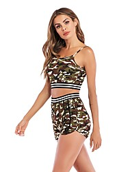 cheap -Women's Open Back Cotton Tracksuit High Rise Running Fitness Gym Workout Sportswear Camo / Camouflage Lightweight Soft Sweat-wicking Running T-Shirt With Shorts Sleeveless Activewear Micro-elastic