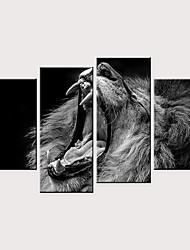 cheap -Print Rolled Canvas Prints - Animals Modern Four Panels Art Prints