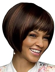 cheap -Synthetic Wig Bangs Afro Natural Straight Bob Free Part Wig Short Dark Brown / Dark Auburn Synthetic Hair 12 inch Women's Fashionable Design Women Synthetic Brown / For Black Women