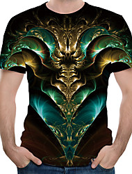 cheap -Men's T-shirt Abstract Graphic Print Tops Round Neck Green