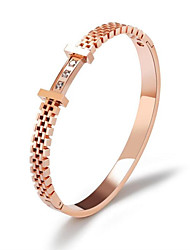 cheap -Women's Clear White AAA Cubic Zirconia Bracelet Bangles Hollow Out Blessed Fashion Titanium Steel Bracelet Jewelry Rose Gold For Party Daily
