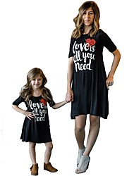 cheap -Mommy and Me Active Basic Geometric Letter Print Short Sleeve Regular Knee-length Regular Cotton Dress Black