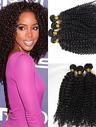 cheap -3 Bundles Brazilian Hair Kinky Curly Unprocessed Human Hair 300 g Headpiece Natural Color Hair Weaves / Hair Bulk Extension 8-28 inch Natural Color Human Hair Weaves Odor Free Extender Sexy Lady