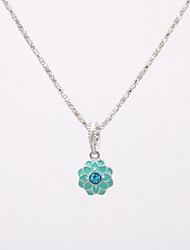 cheap -Women's Pendant Necklace Necklace Charm Necklace Classic Flower Dainty Unique Design Trendy Fashion Silver Plated Chrome Black Pink Light Blue 42 cm Necklace Jewelry 1pc For Carnival Street Holiday