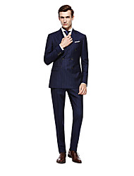 cheap -Custom Suits Dark navy Striped Standard Fit Wool Suit - Peak Double Breasted Six-buttons