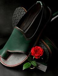 cheap -Women's PU(Polyurethane) / Elastic Fabric Spring &  Fall / Spring & Summer Sweet / Minimalism Sandals Flat Heel Open Toe Brown / Red / Green