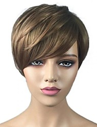 cheap -Synthetic Wig Bangs Natural Straight Side Part Wig Blonde Short Black / Gold Synthetic Hair 12 inch Women's Fashionable Design Women Synthetic Blonde / Ombre Hair