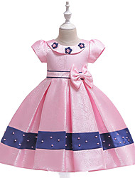 cheap -Kids Toddler Girls' Active Cute Floral Color Block Tribal Beaded Bow Pleated Short Sleeve Knee-length Dress Blushing Pink
