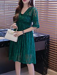 cheap -Women's Shirt Dress Green White Black XL XXL XXXL