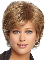 cheap -Synthetic Wig Bangs Curly Side Part Wig Blonde Short Black / Gold Synthetic Hair 12 inch Women's Classic Women Synthetic Blonde
